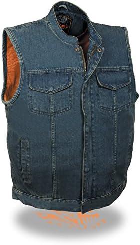 Gun Pocket SOA Anarchy Style Outlaw Biker Men/'s Blue Denim Motorcycle Vest