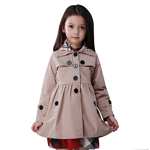 LSERVER Little Girls A-line Single Breasted Hooded Cotton Trench Coat Jacket Khaki 140