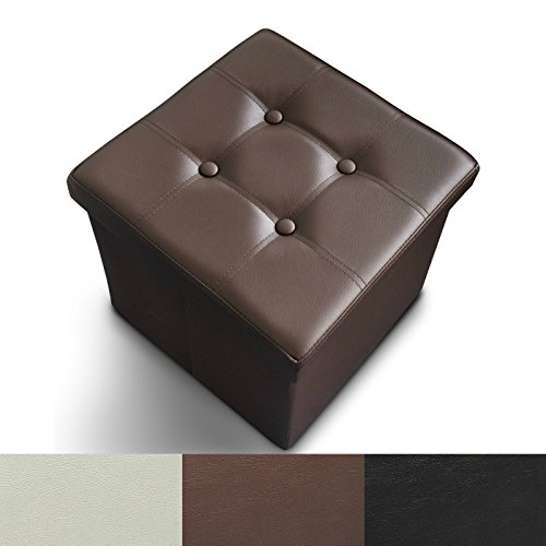 - casa pura Ottoman Foot Rest | Foot Stool with Storage | Great Hidden Storage Solution in Classic Design | Faux Leather - Brown | 3 Sizes available - 15
