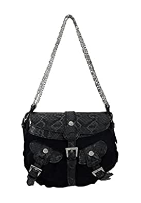 Black Velvet Evening Bag with Snakeskin Accents and Chain Strap