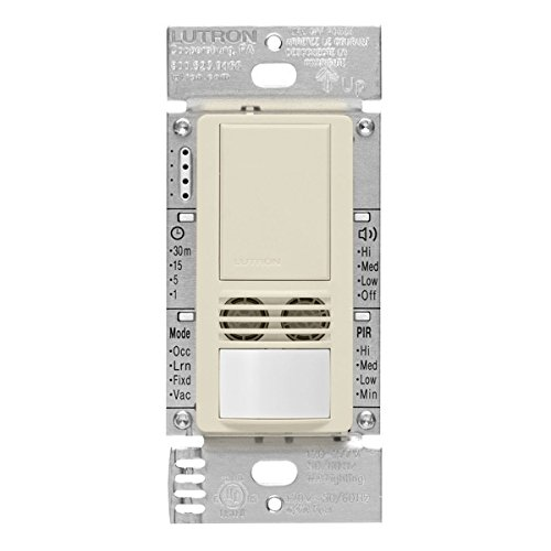 Lutron MS-B102-V-LA Motion Sensor, 120V/277V Single-Pole Maestro Vacancy Sensor Switch - Light Almond by Lutron