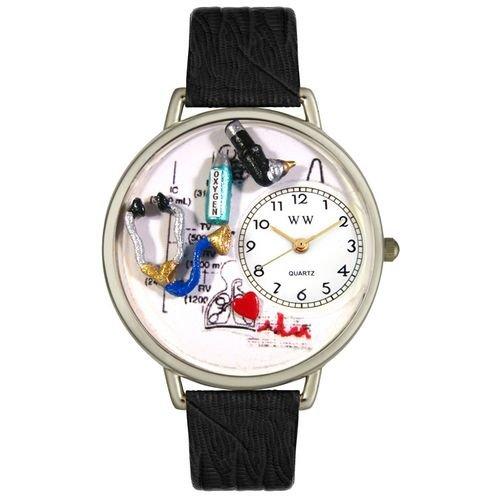 Respiratory Therapist Watch in Silver (Unisex) - Black Wristband - Therapist Unisex Watch