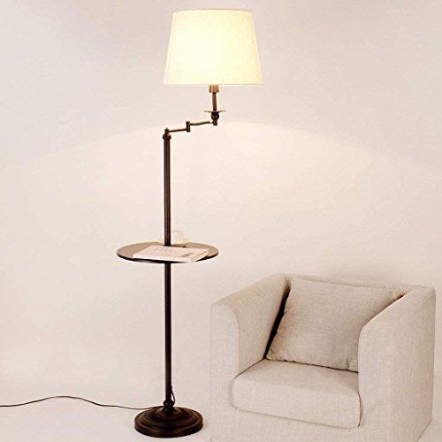 GAOXINGSHOP GX Floor lamp American Floor Lamps Living Room Lamps Bedroom Floor Table Lamps Coffee Table Set Tray Vertical Floor Lamps (Color : Black)