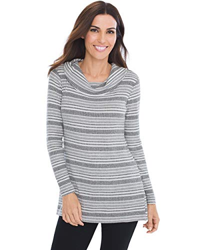 Chico's Women's Zenergy Cozy Striped Cowl-Neck Tunic Size 4/6 S (0) Grey