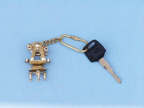 """Brass Theodolite Key Chain 5"""" - Nautical Key Ring - Brass Nautical Keychain -"""