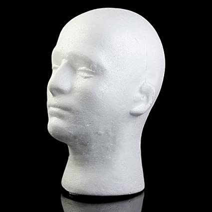ZYS-hot1124 Male Wig Display Mannequin Head Stand Model Styrofoam Foam White Wig Glasses Hat Display Stand White