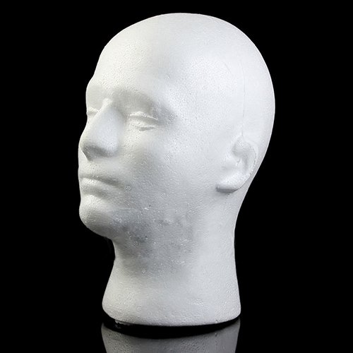 DERKOLY Male Styrofoam Foam Head Model Professional Bald Manikin Mannequin Head Hat Wig Hair Jewelry Headset Glasses Display Stand Tool White