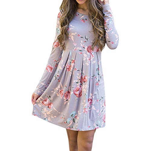 Match Women's Round Neck Long Sleeve Floral Print A-line Dress