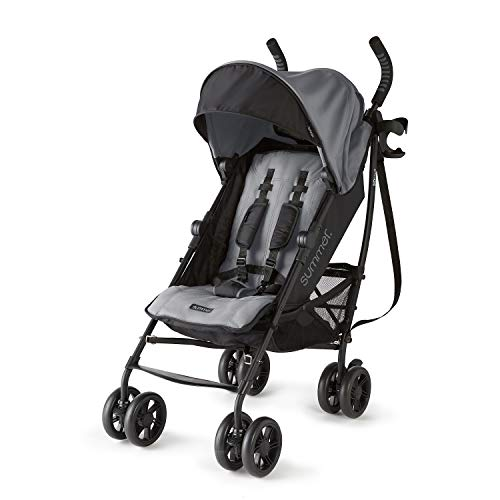 Summer 3Dlite+ Convenience Stroller, Matte Gray - Lightweight Umbrella Stroller with Oversized Canopy, Extra-Large Storage and Compact Fold