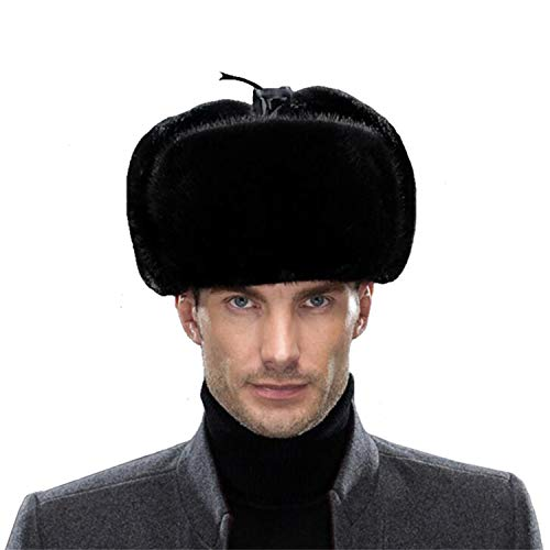 Sisha Men's Mink Fur Hat Elegant Russian Ushanka Winter Warm Cossack Style Hats with Ear Flaps Black 3XL