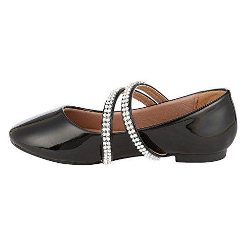 Coshare Meisjes Fashion Little Heel Rhinestone Mary Jane Bloemen Jurk Pumps Zwart - Patent Pu Flat