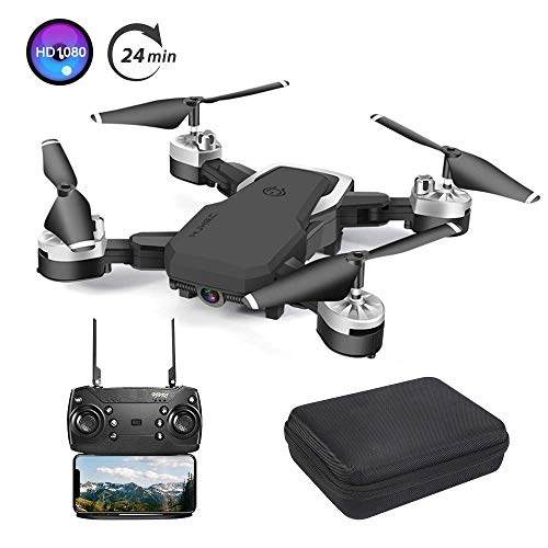 B-Qtech Drone with Camera, Foldable WiFi RC Quadcopter Drone, 1080P HD Drone for Kids & Adults & Beginners, 24 Min Long…
