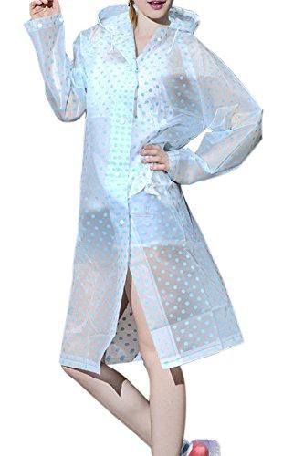 a2c3d3e157e Galleon - QZUnique Women s Fashion EVA Transparent Raincoat Zipper Poncho  Hooded Rainwear Blue US XL-3XL