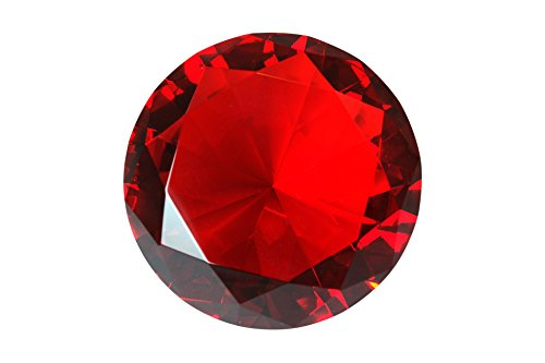 100 mm Ruby Red Diamond Shaped Crystal Jewel Paperweight by Tripact - 04