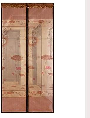 FAINT Cortina Anti Mosquitos De La Puerta De Pantalla Magnética Impresión De La Puerta De Pantalla Suave Magnética Mute Invisible Gasa Libre De Cortina De Hilo De Tira Magnética,C,90 * 210CM: Amazon.es: