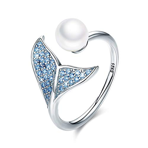 (FOREVER QUEEN Mermaid Tail Ring, S925 Sterling Silver Dolphin Tail Adjustable Finger Ring for Women Girls Open Ring with Blue Cubic Zirconia& Shell Pearl BJ09067)