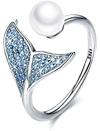 7ddd27df68 Mermaid Tail Ring, S925 Sterling Silver Dolphin Tail Adjustable Finger Ring  for Women Girls Open