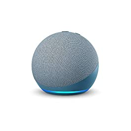 All-new Echo Dot (4th Gen, Blue) gift twin pack with Wipro 9W LED smart color bulb