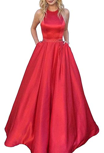 MARSEN Prom Dresses Long Halter Satin Beaded Backless Formal Evening Gown Pockets Red Size 12