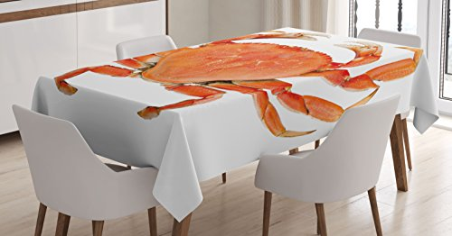 Ambesonne Crabs Decor Tablecloth, Sea Animals Theme a Cooked Dungeness Crab with National Marks Digital Image, Dining Room Kitchen Rectangular Table Cover, 60 W X 84 L Inches, Orange White
