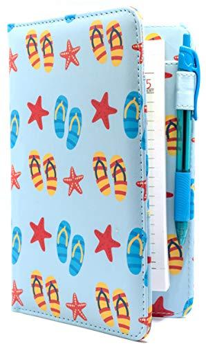 Server Book Brand Beach Summer Sandals and Starfish Cute Server Organizer | Cute 5x8 Blue Flip Flops Waitress Wallet | Order Pad Holder