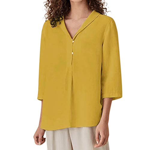 TUSANG Women Tees Casual Solid Three Quarter Sleeve V-Neck Cotton Tops T-Shirt Blouse Slim Fit Comfy Tunic Tops(Yellow,US-8/CN-L)