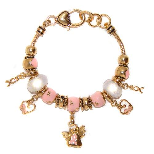 Landau Ambrosia Pink Ribbon with Angel Theme Charm Bracelet