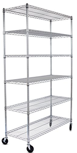 Internet's Best 6-Tier Wire Shelving | Chrome | Heavy Duty Shelf | Wide Adjustable Rack Unit with Locking Wheels | Kitchen Storage by Internet's Best
