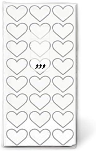 Lywedd® Taschentücher Herzen Alles Liebe 100 Stück Silber - Papiertaschentücher für die Freudentränen