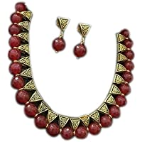Saraa Red Gold Plated Jewellery Set for Women