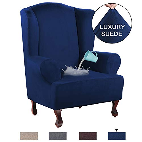 (H.VERSAILTEX Stretch Wing Chair Cover Velvet Plush Water Repellent Suede Fabric Slipcovers for Wingback Chairs, Wingback Chair Cover 1 Piece with Elastic Bottom, Anti-Slip Foams Added - Navy)