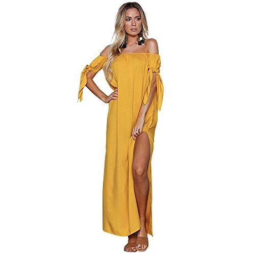 Sherostore ♡ Women's Casual Off Shoulder Loose Ruffle Short Sleeve Split Long Dress Party Dresses Beach