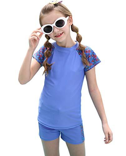 Kids Rash Guard Two Piece, Swimming Suit Set Boyshort Short Sun Protection Swimwear Blue Purple