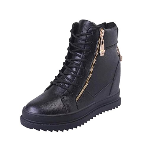 Womens Lace-up Ankle Booties | Fashion High-Top Zipper Sneakers | Low Heels Combat Boots Shoes by Inkach