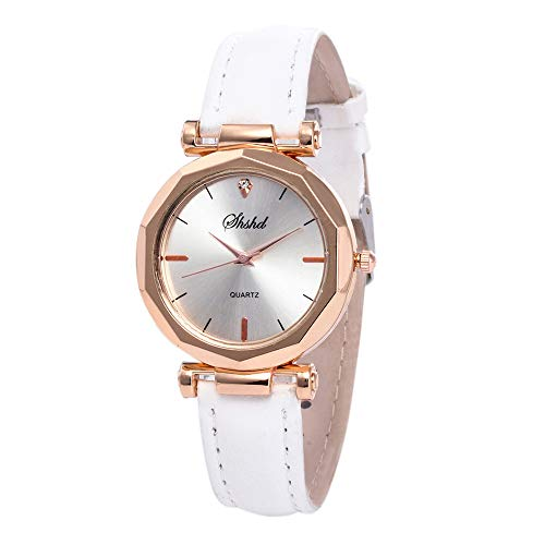 (Women's Wristwatch WANQUIY Fashion Women Leather Luxury Analog Quartz Crystal Watches Casual Ladies Watch White)