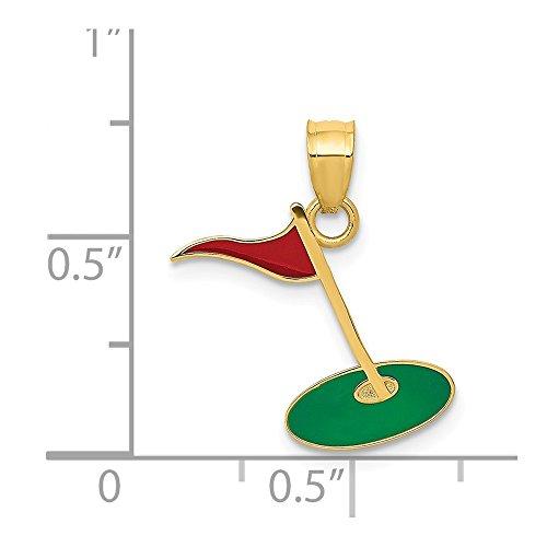 14k Yellow Gold Enameled Golf Flag on Green Charm Pendant ()