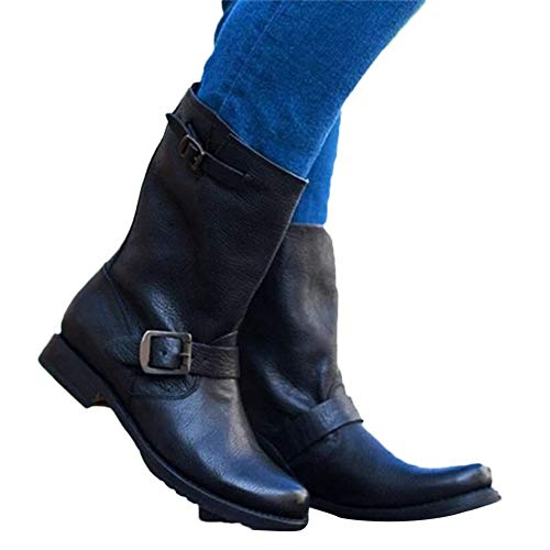 Clearance Sale Waterproof Boots,Aurorax Womens Girls Motorcycle Mid-Calf Flat Boots Winter Warm Shoes 5.5-9.5