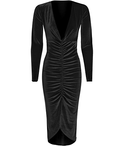Ladies Celebrity Style Velvet Plunged V-Neck Ruched Front Bodycon Dress US Size 6-12 (US 6 (UK 8), - Kardashian Style Kim Celebrity