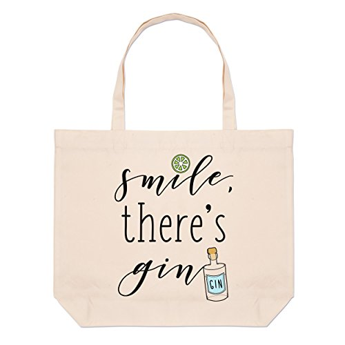 Tote Beach Large Smile Gin Bag Smile There's Gin There's gq6W0w