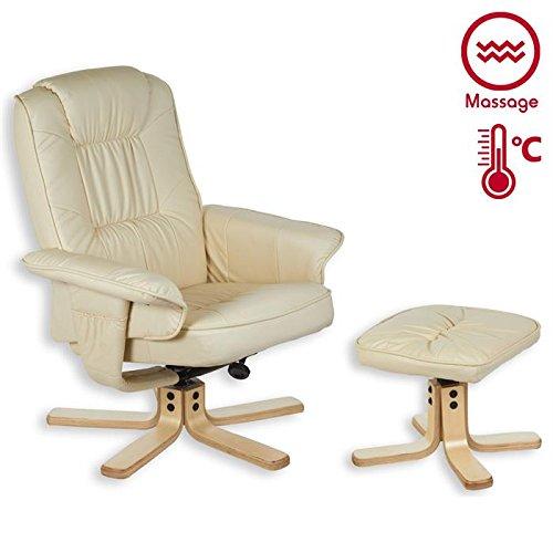 Fauteuil de relaxation massant chauffant COMFORT repose pieds revêtement synthétique beige