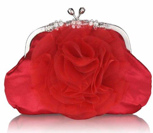 ANNA GRACE - Cartera de mano de Satén para mujer Design 1 - Red