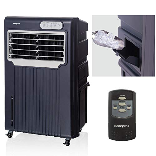 Honeywell Powerful Outdoor Evaporative Air Cooler For Long Open Areas with Double High Pressure Blowers, Auto-Close Shutters, Continuous Water Supply Connection & Remote Control, CO70PE