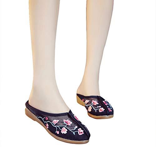 Pantofole Con Cinesi Scarpe Estivi Donna Sandali Tradizionali Nero Zeppa Icegrey SqtnxZq
