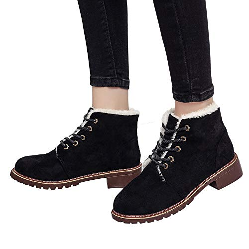 Snow Boots Classic Women Winter Warm Martin Boots Ankle Lace-Up Shoes Fitfulvan(Black,5.5)