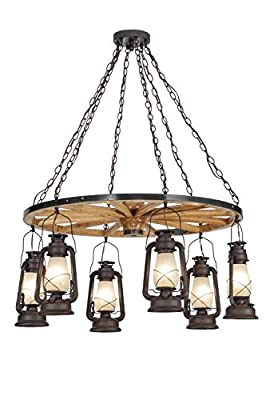 "Meyda Tiffany 151906 - 40"" W Miner's Lantern Wagon Wheel 6 Lt Chandelier. Custom Crafted In Yorkville - New York Please"