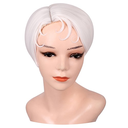 ColorGround Short White Cosplay Wig for Women -