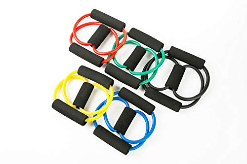 Tofreedomwind 16 8 Elastic Chest Bodybuilding Expander 8 Shape Latex Resistance Loop Band with Foam Handles Fitness Equipment for Abdomen//Waist//Arm//Leg Stretching Slimming Training