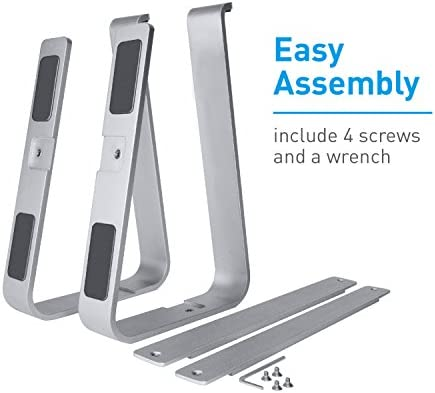 "Macally Aluminum Laptop Stand for Desk - Works with all Macbook /Pro/Air & Laptops between 10"" to 17.3"" - Sleek and Sturdy Laptop Riser - (ASTANDSG), Space Gray"