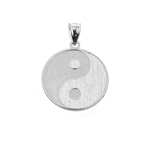 (925 Sterling Silver Milgrain-Edged Satin Finish Charm Yin and Yang Pendant)