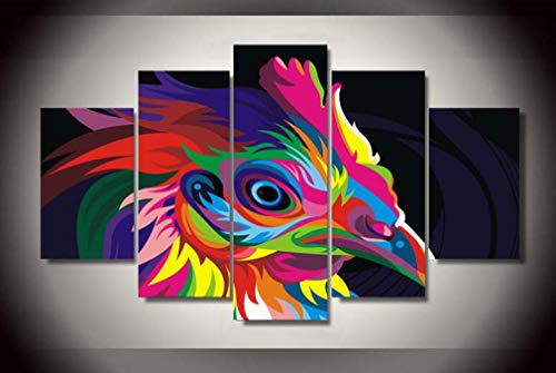 WM Home Wall Art Painting Micro-Spray Painting Home Hotel Five Color Bird Frameless Painting Modern Decorative Inkjet Painting Decorative Poster,L
